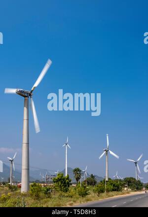 Vertical view of the massive Muppandal windfarm near Kanyakumari, India. - Stock Image