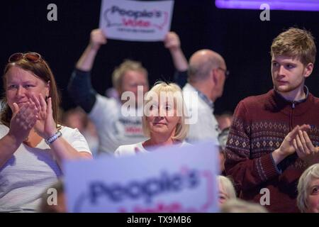 Picture by Chris Bull   22/6/19  People's Vote rally at at New Dock Hall , Leeds.  www.chrisbullphotographer.com - Stock Image