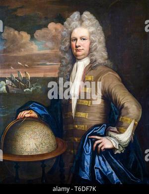 English School, Portrait of an East India Company Captain, circa 1690 - Stock Image