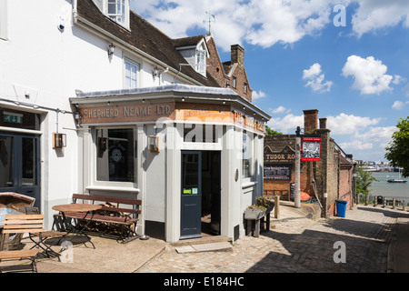 View down the High Street in the Village of Upnor Kent - Stock Image