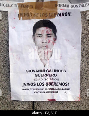 Guerrero State, Mexico. 15th Nov, 2014. A portrait of missing student Giovanni Galindez Guerrero painted with red - Stock Image