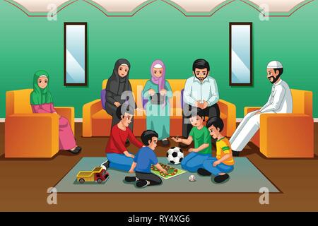 A vector illustration of Muslim Family Playing in the Living Room - Stock Image