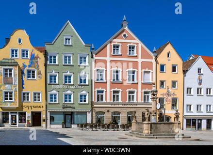 Marienplatz in Weilheim Upper Bavaria,Germany - Stock Image