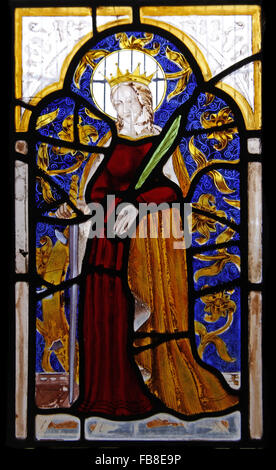 16th Century Stained Glass, St Luke's Church, Tixover, Rutland - Stock Image