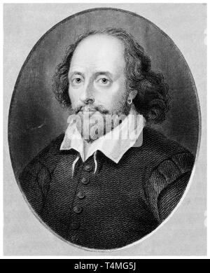 William Shakespeare (1564-1616), portrait engraving, Benjamin Holl, 19th Century after Arnold Houbraken - Stock Image