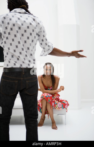 African couple having argument - Stock Image