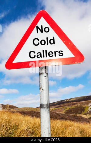No cold callers sign concept unwanted calls cold calling nuisance UK - Stock Image