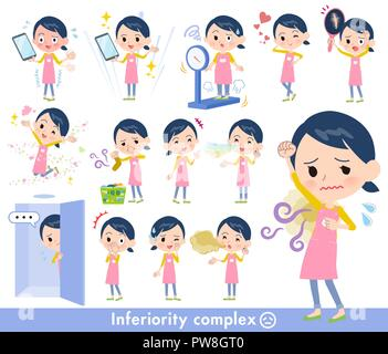 A set of Childminder women on inferiority complex.There are actions suffering from smell and appearance.It's vector art so it's easy to edit. - Stock Image