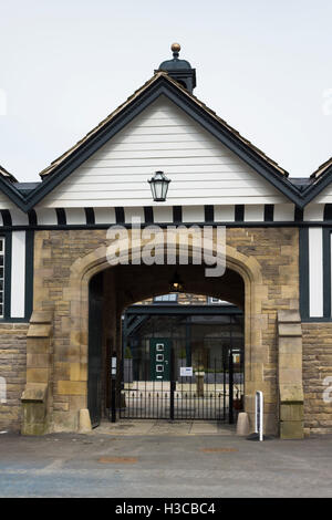 Former main entrance to Smithills coaching house, Bolton, with the building's redevelopment for residential - Stock Image