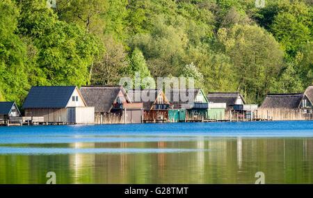 Boat houses, Lake Schwerin, Schweriner See, near Zippendorf, Schwerin, Germany - Stock Image