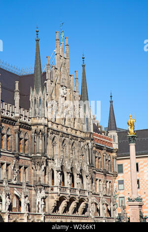 Main square of the Munich, Germany - Marienplatz (Marian square). The old and new city halls, Marian column, Church and Fish's fountain together are f - Stock Image