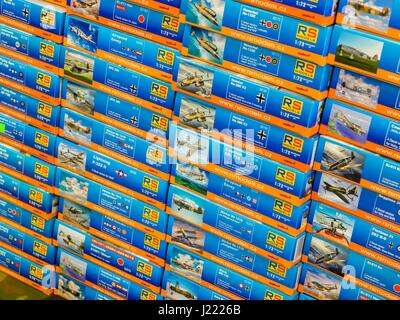 Plastic model kits aviation aircraft in store unassembled kits kit - Stock Image