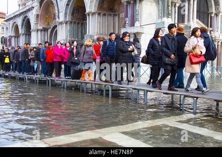 Flooded San Marco square in Venice - Stock Image