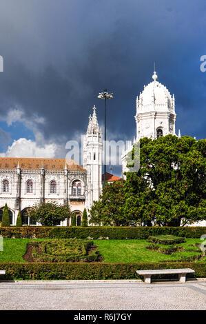 Jerónimos Monastery and Church Santa Maria de Belém Lisbon Portugal - Stock Image