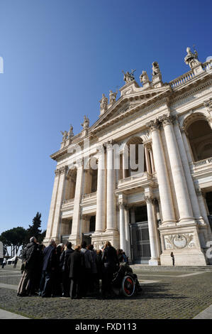 italy, rome, basilica of san giovanni in laterano, jubilee 2016, group of pilgrims - Stock Image