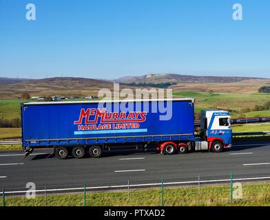 McMurrays Haulage Limited HGV. M6 Northbound carriageway, Shap, Cumbria, England, United Kingdom, Europe. - Stock Image