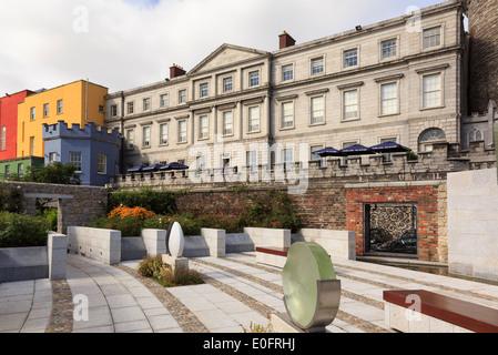 State Apartments of Dublin Castle from the Garda Memorial Garden in Dublin, Republic of Ireland, Eire - Stock Image