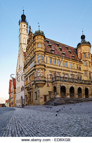 Front section of the Rothenburg ob der Tauber Rathaus dates to the Renaissance, erected 1572-1578; Rathausturm (tower) - Stock Image