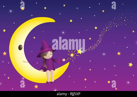 A vector illustration of Little Girl Wizard Sitting on a Half Moon - Stock Image