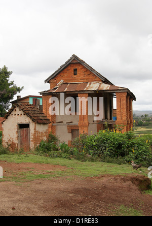Typical Rural Malagasy House, Near Lake Tritriva, Madagascar, Africa. - Stock Image