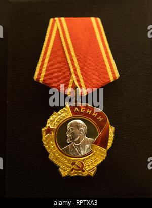 Order of Lenin of the Union of Soviet Socialist Republics, conferred to President of Finland Mauno Koivisto on 24th November 1983. - Stock Image