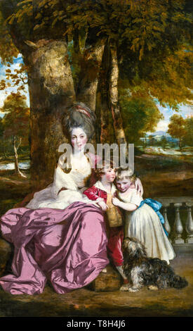 Sir Joshua Reynolds, Lady Elizabeth Delmé and Her Children, portrait painting, c. 1777 - Stock Image
