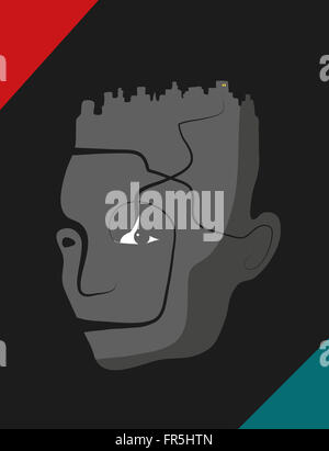 Human machine with cityscape as hair. Retro style. - Stock Image