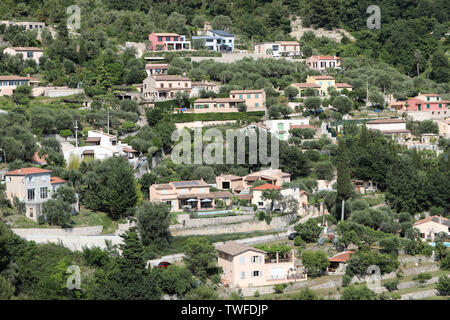 Beautiful Houses On The Hill  In Castellar On The French Riviera, France, Europe - Stock Image