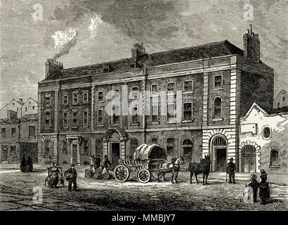 The Theatre, Portugal Street, London, England, UK with dailylife in the street outside. 19th century Victorian engraving circa 1878 - Stock Image