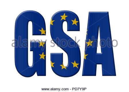 Digital Illustration - EU agency. GSA European Global Navigation Satellite Systems Agency European GNSS Agency, Agentur für das Europäische GNSS, Toez - Stock Image