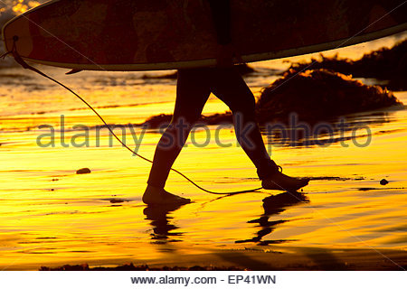 A surfers feet, legs walking up onto the beach after a long day of surfing the California coast with Surfboard in - Stock Image