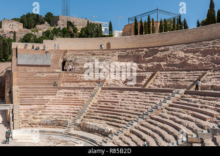 Views of the Roman Theatre of Cartagena, Spain. It was built between 5 and 1 BC. - Stock Image