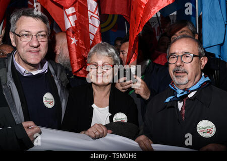 CGIL's Maurizio Landini, CISL's Annamaria Furlan, UIL's Carmelo Barbagallo, the three leaders of Italy's main trade unions, prior to the Italy's Liberation Day celebrations in Milan, Italy  on 25th April 2019. The Festa della liberazione, also known as Anniversary of the Liberation is a national Italian holiday celebrating the end of the Nazi occupation during World War II and the victory of the Resistance. - Stock Image