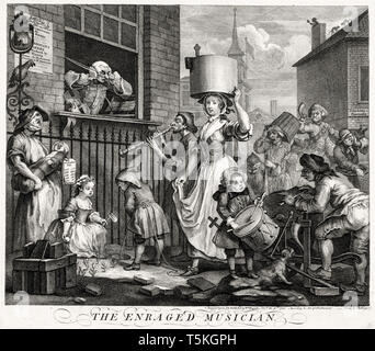 William Hogarth, The Enraged Musician, engraving, 1741 - Stock Image