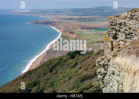 Looking over the landslip at Blackgang Chine and Whale Chine on Chale Bay, Isle of Wight - Stock Image