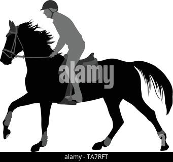 high quality silhouette of young man riding horse - vector - Stock Image