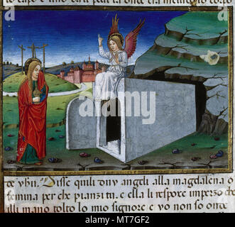 Cristoforo De Predis (1440-1486). Italian miniaturist. Mary brings an ointment to the tomb to anoint the body of Jesus. Codex of Predis, 1476. Royal Library. Turin, Italy. - Stock Image
