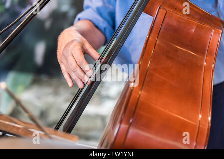 A musician playing a double bass. - Stock Image