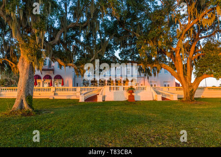 Early morning light on Capernaum Lakeside Lodge also Capernaum Inn Retreat Center built in 1925 in Lake Wales Polk County Floridda in the United State - Stock Image