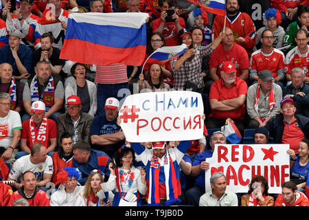 Bratislava, Slovakia. 19th May, 2019. Russian fans during the match between Switzerland and Russia within the 2019 IIHF World Championship in Bratislava, Slovakia, on May 19, 2019. Credit: Vit Simanek/CTK Photo/Alamy Live News - Stock Image