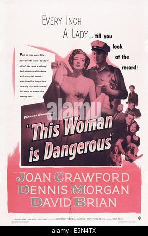 THIS WOMAN IS DANGEROUS, US poster, Joan Crawford, David Brian, 1952 - Stock Image