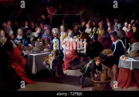 The feast of Belshazzar by Frans Francken the 1581-1626, Younger, Belgian, Belgium, Flemish,( Belshazzar holds a great feast and drinks from the vessels that had been looted in the destruction of the First Temple. ) - Stock Image
