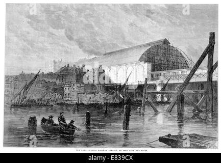 Charing Cross Railway station from the river ThamesLondon 1864 - Stock Image