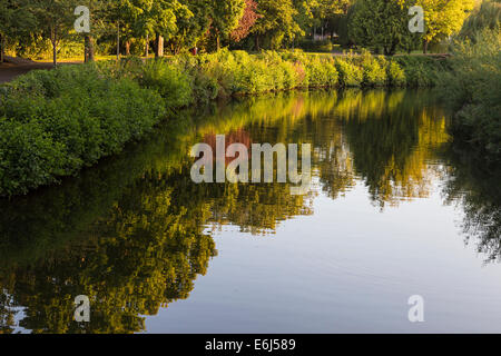 River Tone and footpath through park leading to centre of Taunton. - Stock Image