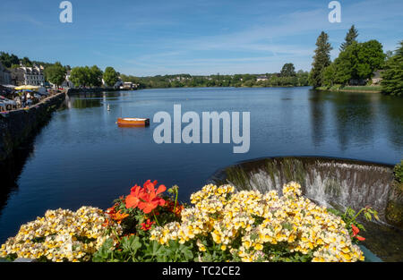Water flows from the lake at Huelgoat, Finistère, Brittany, France, Europe - Stock Image