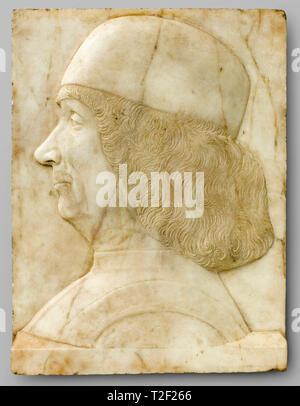 Portrait of Gentile Bellini (1429-1507), Tullio I Lombardo, c. 1500, sculpture in marble - Stock Image