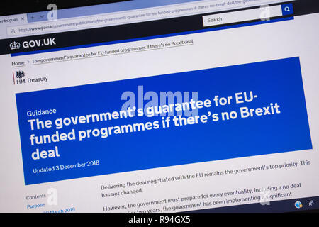 Computer screenshot of the gov.uk website showing the government's guarantee for EU funded programmes if there is no Brexit deal - Stock Image