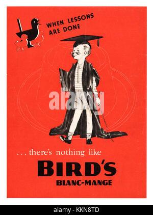 1939 UK Magazine Bird's Blanc-mange Advert - Stock Image