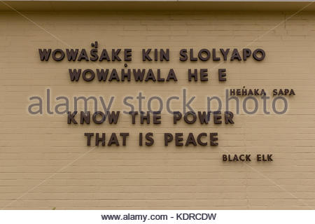 Black Elk Quotation on the wall of the National Monument at Little Big Horn - Stock Image