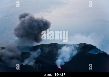Volcanic eruption with black smoke, Stromboli Volcano, Stromboli Island, Aeolian Islands, Sicily, South Italy, Italy, - Stock Image